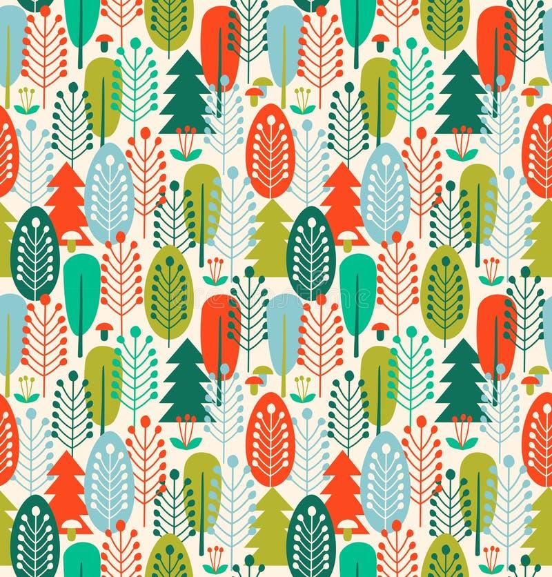 Naadloze achtergrond met gestileerde bomen Noords bospatroon stock illustratie