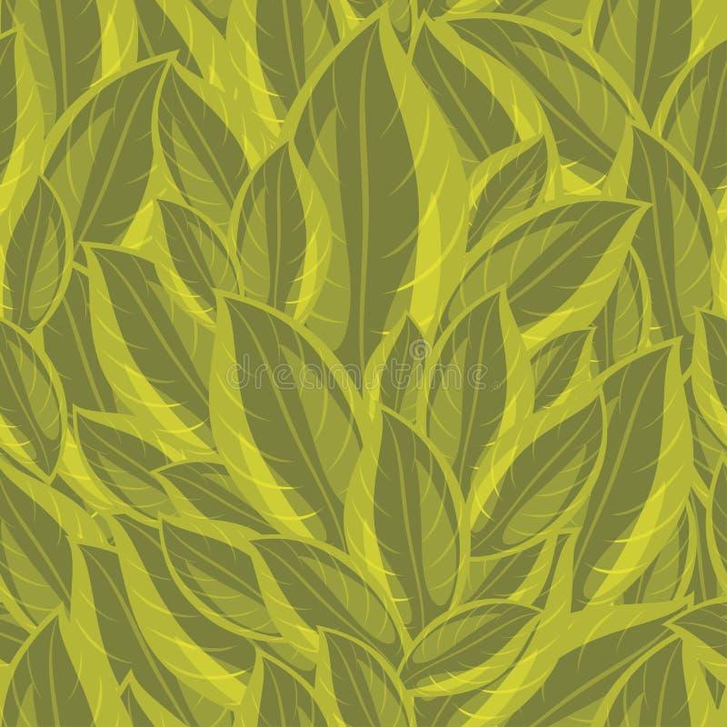 Naadloze achtergrond met groene bladeren royalty-vrije illustratie