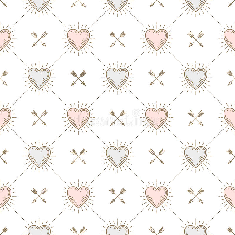 Naadloze achtergrond met harten en pijlen royalty-vrije illustratie