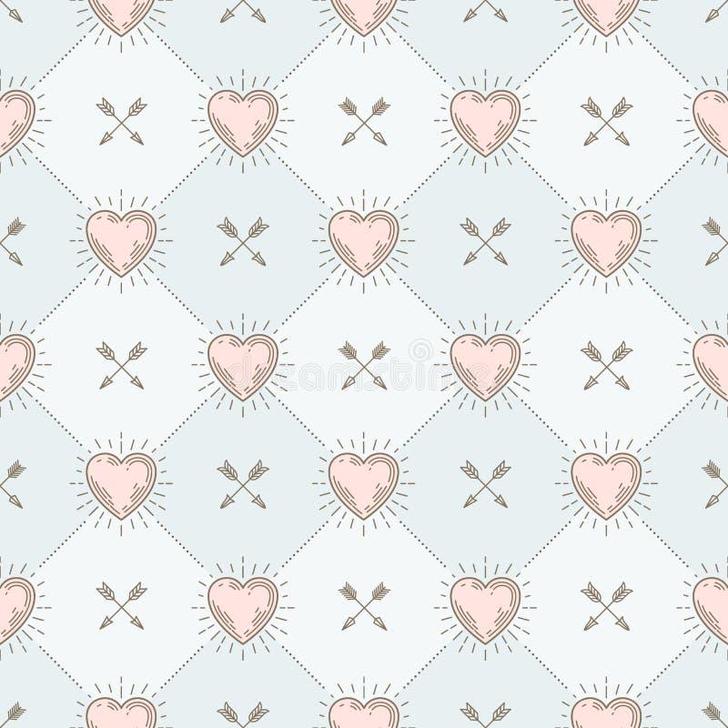 Naadloze achtergrond met harten en pijlen vector illustratie