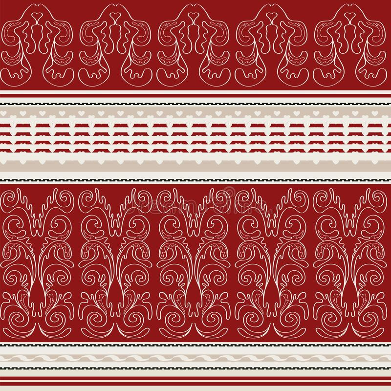 Naadloze achtergrond met heldere strepen en lichte contourpatronen stock illustratie