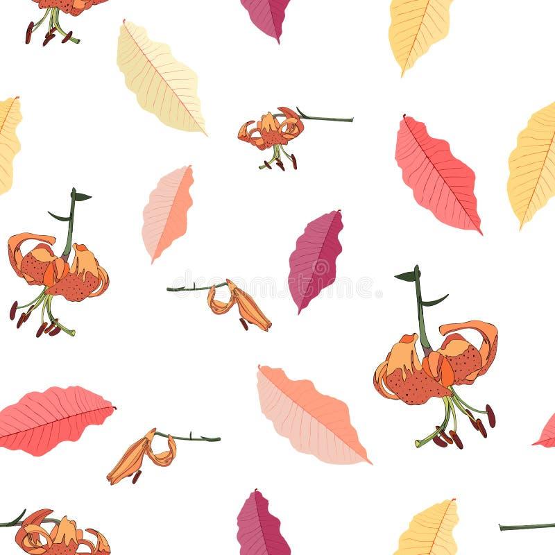 Naadloze achtergrond met kleurrijke de herfstbladeren en leliesbloemen stock illustratie