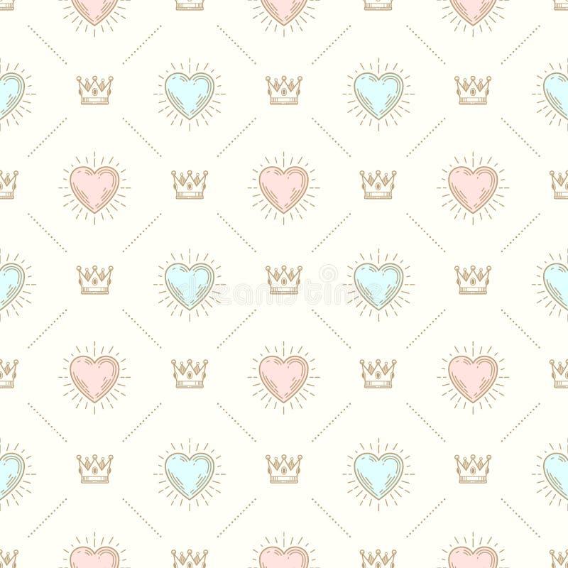 Naadloze achtergrond met kroon en harten vector illustratie