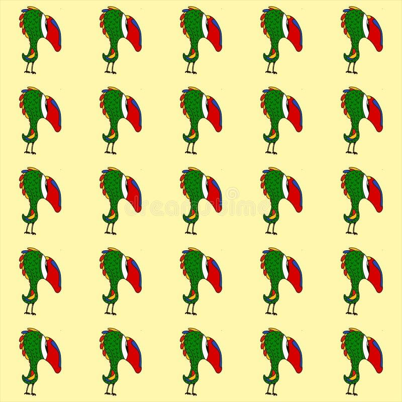 Naadloze achtergrond met leuke papegaai en gele achtergrond Perfectioneer voor de dingen van kinderen verpakking stock illustratie