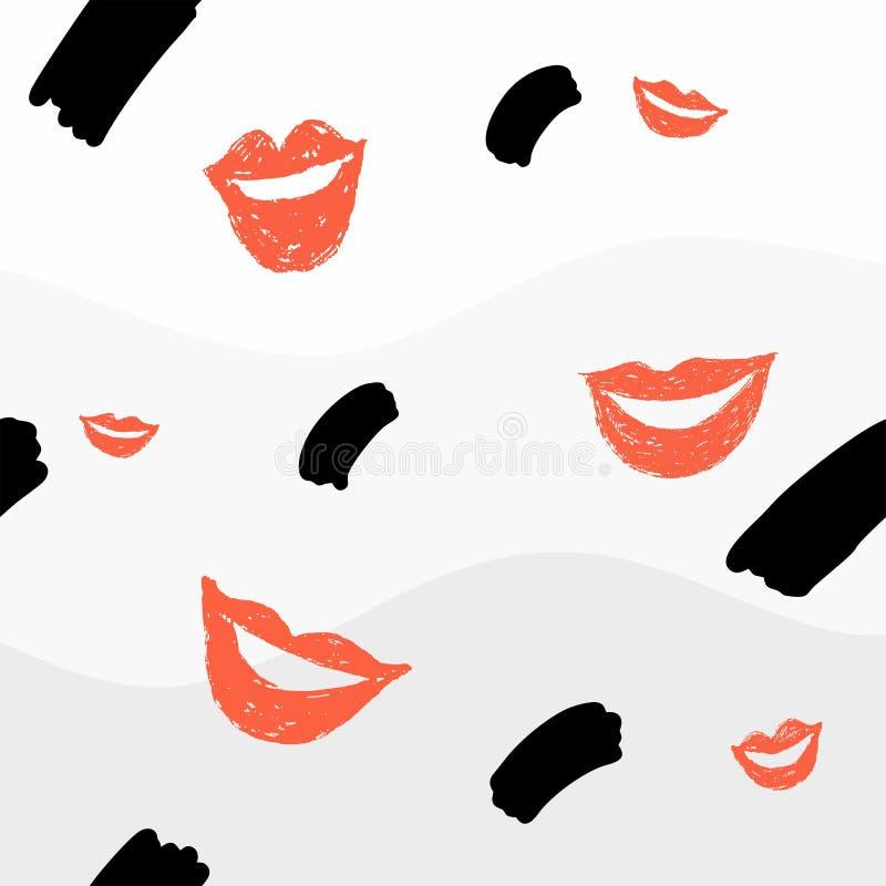 Naadloze achtergrond met lippen en element vector illustratie