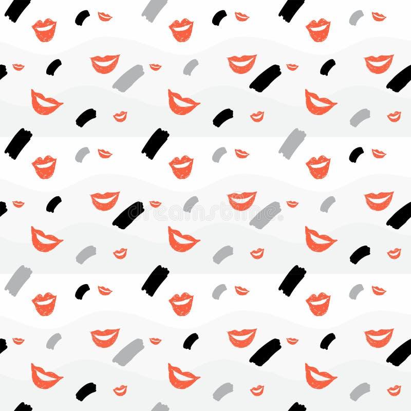 Naadloze achtergrond met lippen en element royalty-vrije illustratie
