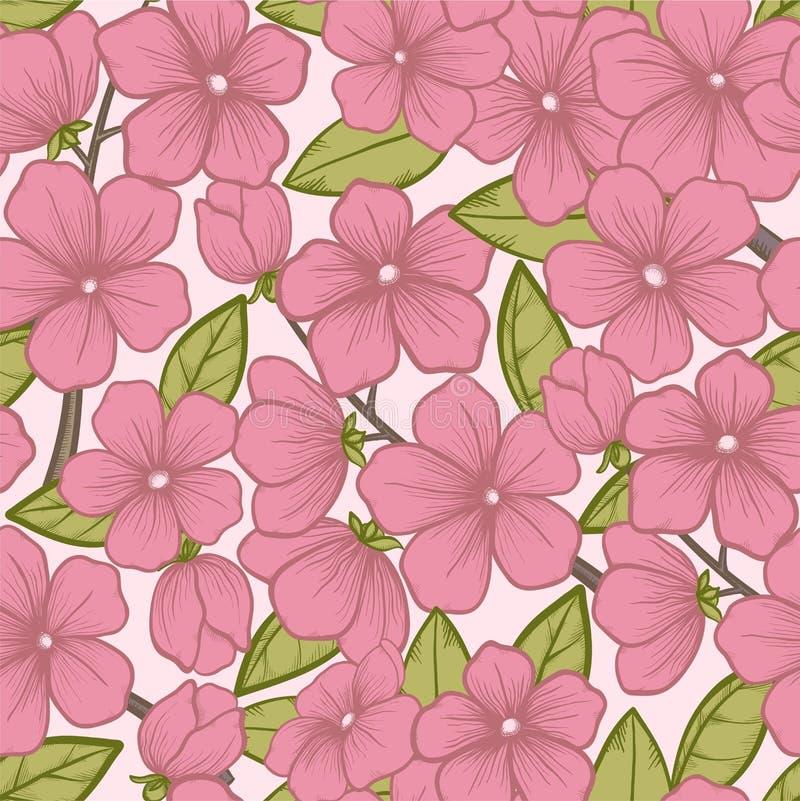 Naadloze achtergrond met mooie bloeiende boomtakken, in mooie pastelkleuren en grafische stijl vector illustratie