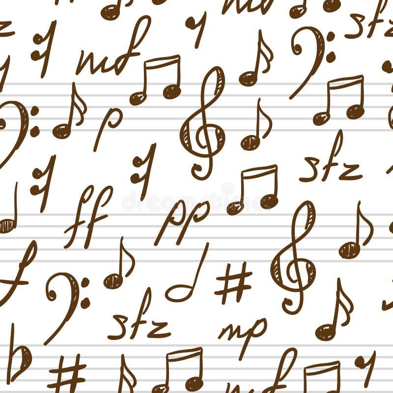 Naadloze achtergrond met muzieksymbolen. vector illustratie