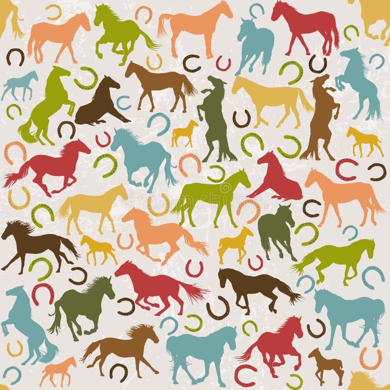Naadloze achtergrond met paardensilhouetten en hoeven stock illustratie