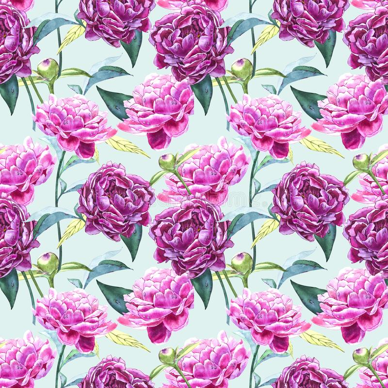 Naadloze achtergrond met pioenbloemen De illustratie van de waterverf Grafisch hand getrokken bloemenpatroon Textielstof royalty-vrije illustratie