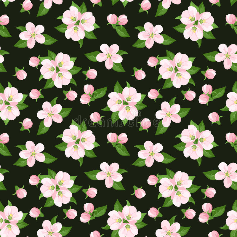 Naadloze achtergrond met roze appelbloemen. Vecto vector illustratie