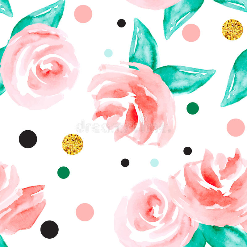 Naadloze achtergrond met rozen en stippen stock illustratie