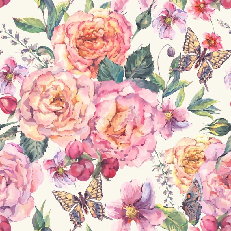 Naadloze achtergrond met rozen en vlinder stock illustratie