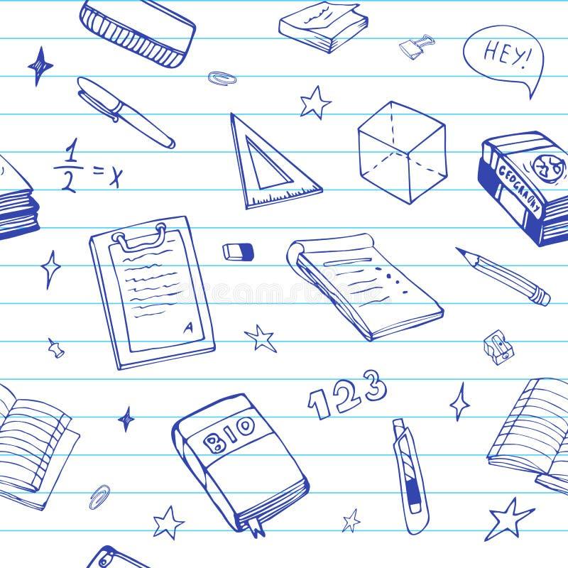 Naadloze achtergrond met schoolvoorwerp en symbolen op blauw beslist document De krabbel van het onderwijspatroon vector illustratie