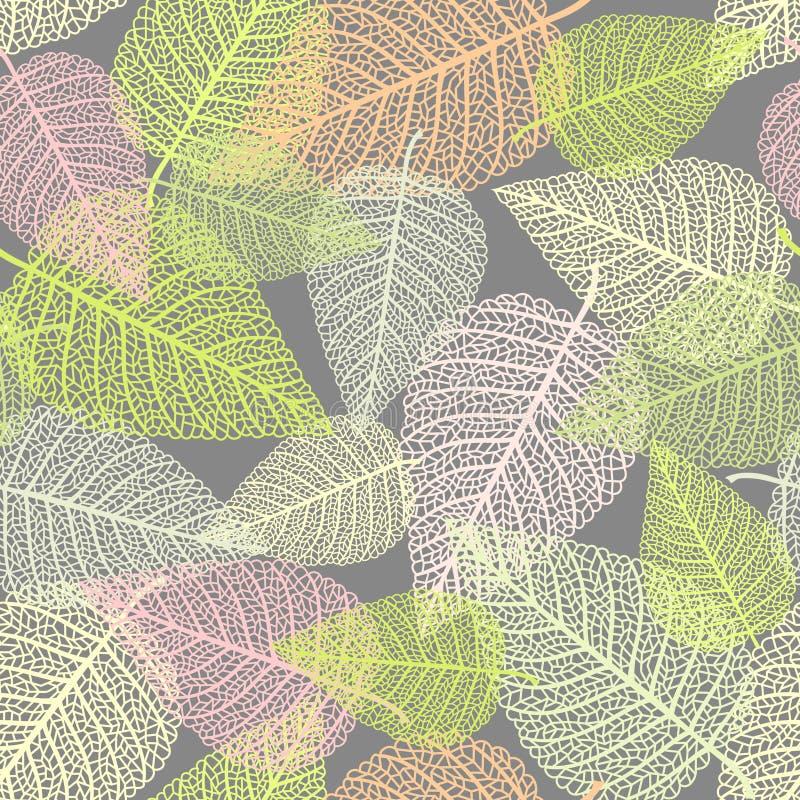 Naadloze achtergrond met skeletten van bladeren vector illustratie