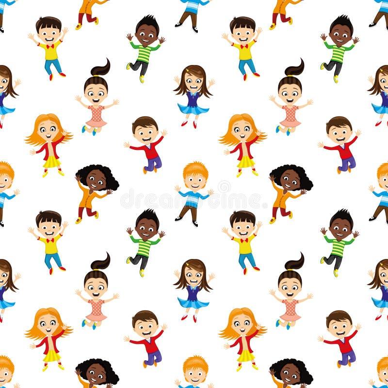 Naadloze achtergrond met springende kinderen royalty-vrije illustratie