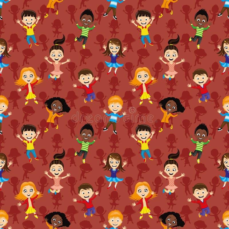 Naadloze achtergrond met springende kinderen stock illustratie