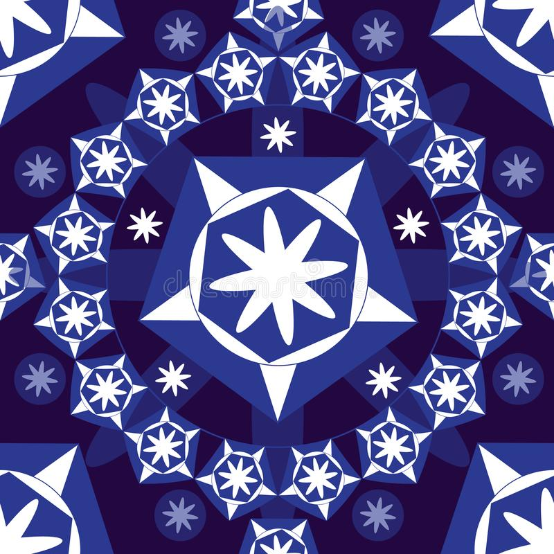 Naadloze achtergrond met sterren, wit op blauwe achtergrond vector illustratie