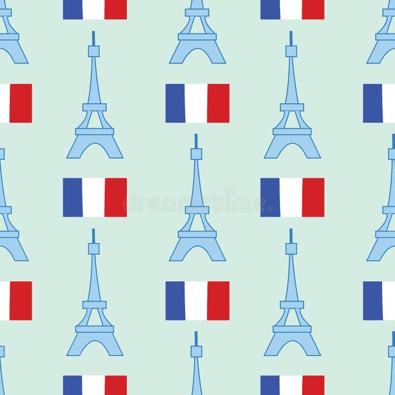 Naadloze achtergrond met symbolen van de Toren van Parijs - van Eiffel en andere stock illustratie
