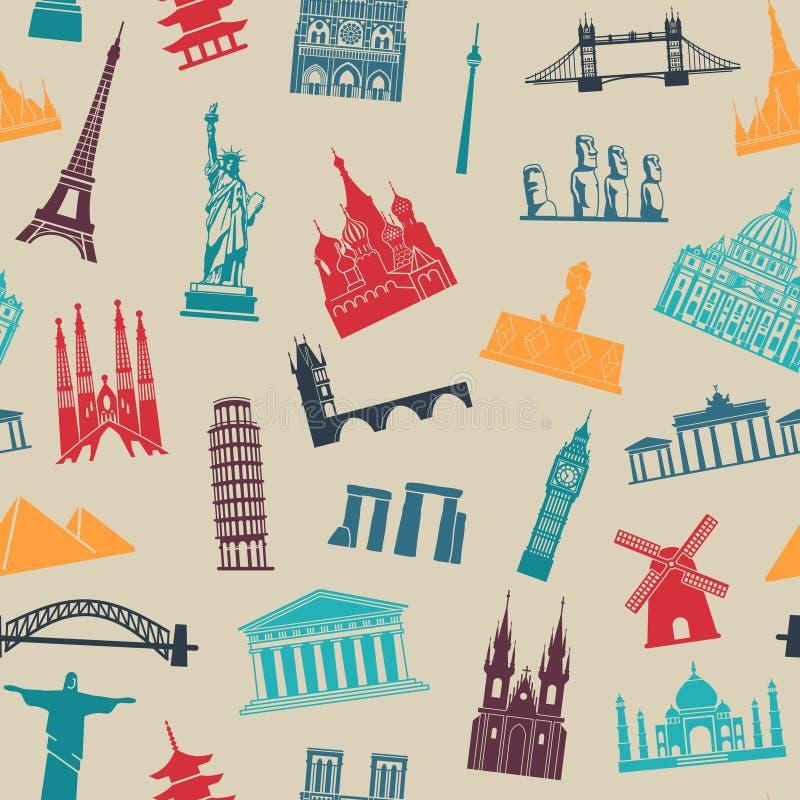 Naadloze achtergrond met toeristische attracties en architecturale oriëntatiepunten royalty-vrije illustratie