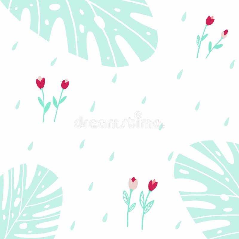 Naadloze achtergrond met tulpen en dalingen royalty-vrije illustratie