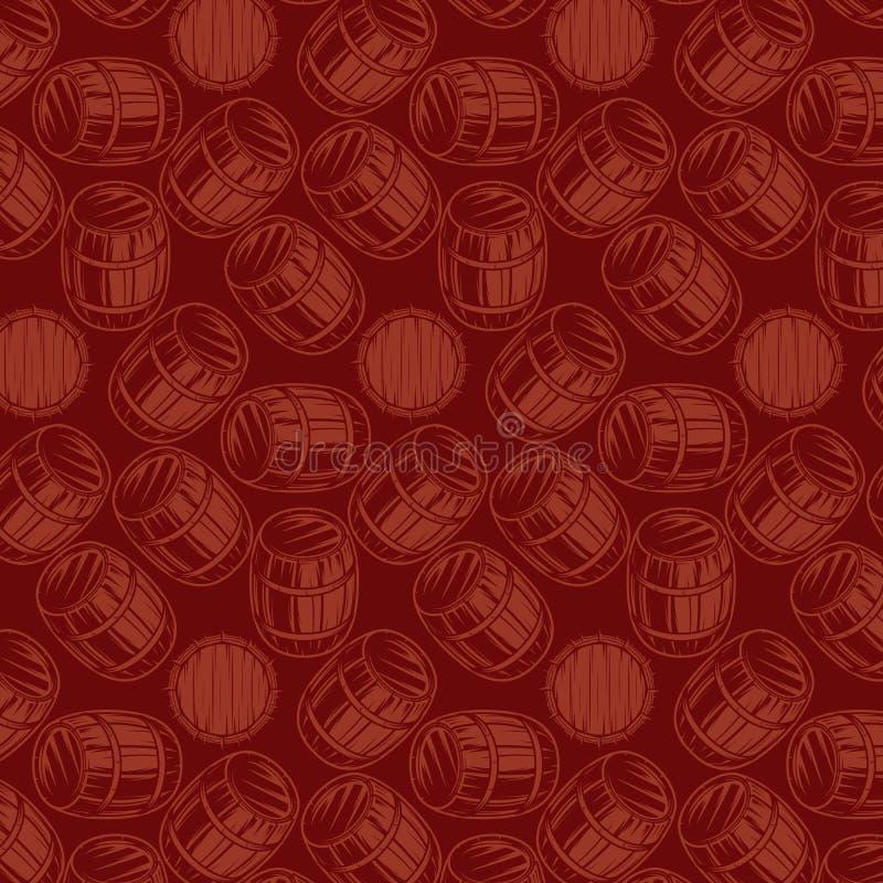 Naadloze achtergrond met vaten voor dranken op bruine achtergrond royalty-vrije illustratie