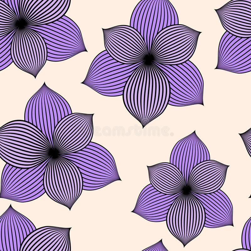 Naadloze achtergrond met violette bloemen royalty-vrije illustratie