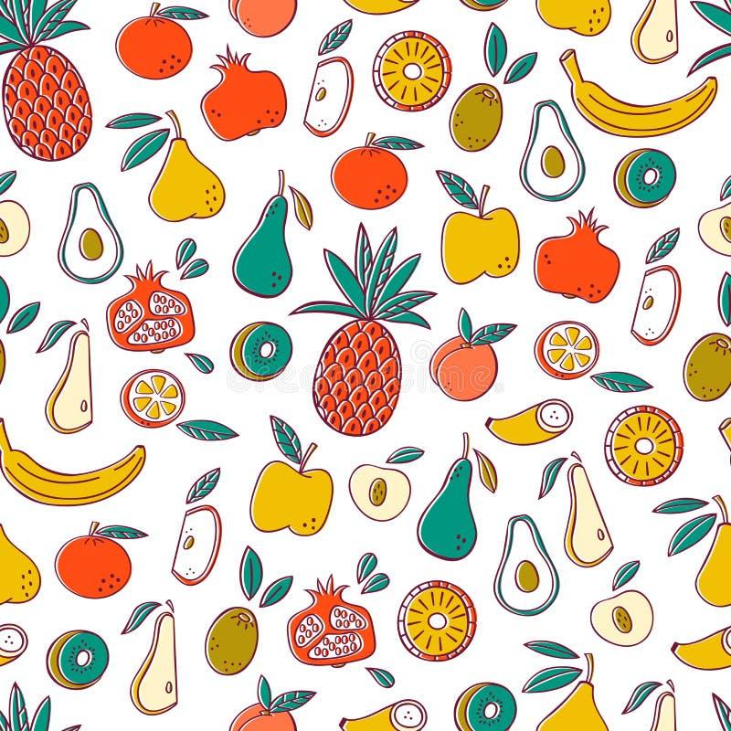 Naadloze achtergrond met vruchten Vectorfruitpatroon vector illustratie