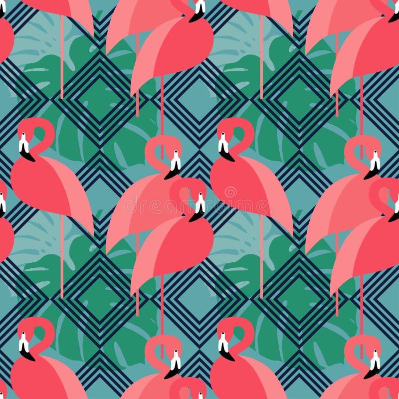 Naadloze Achtergrond Roze Flamingo op een tropische achtergrond royalty-vrije illustratie