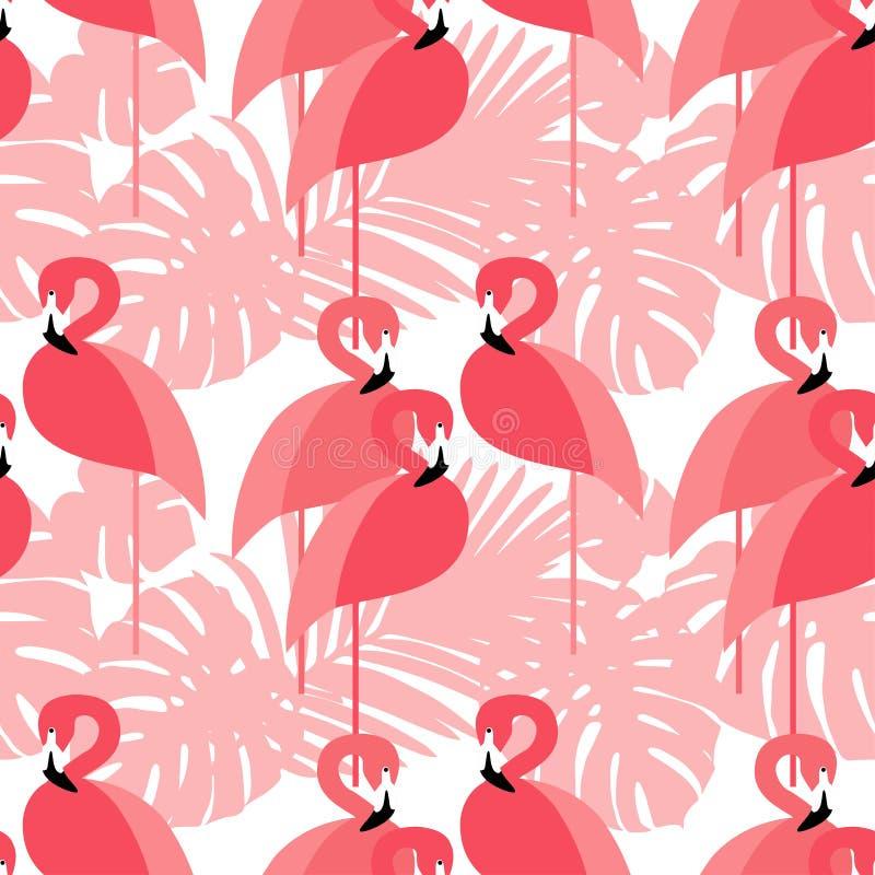Naadloze Achtergrond Roze Flamingo op een tropische achtergrond vector illustratie