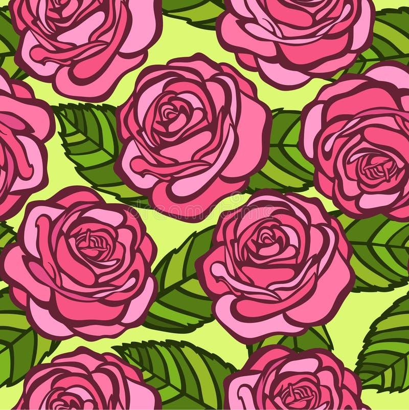 Naadloze achtergrond. Roze rozen met groene bladeren in de oude stijl vector illustratie