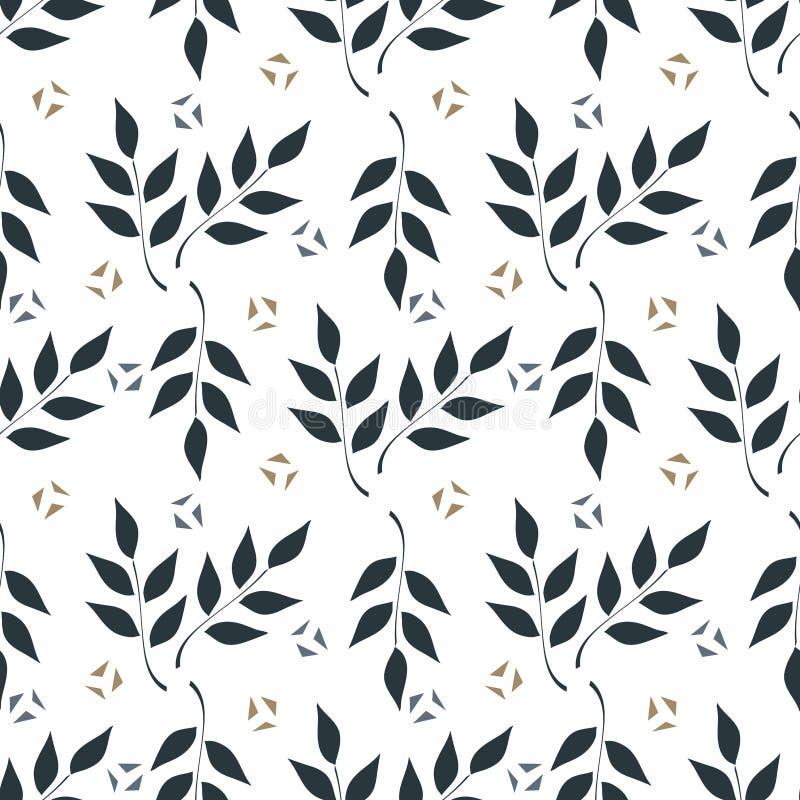Naadloze achtergrond, takken met bladeren op witte achtergrond stock illustratie