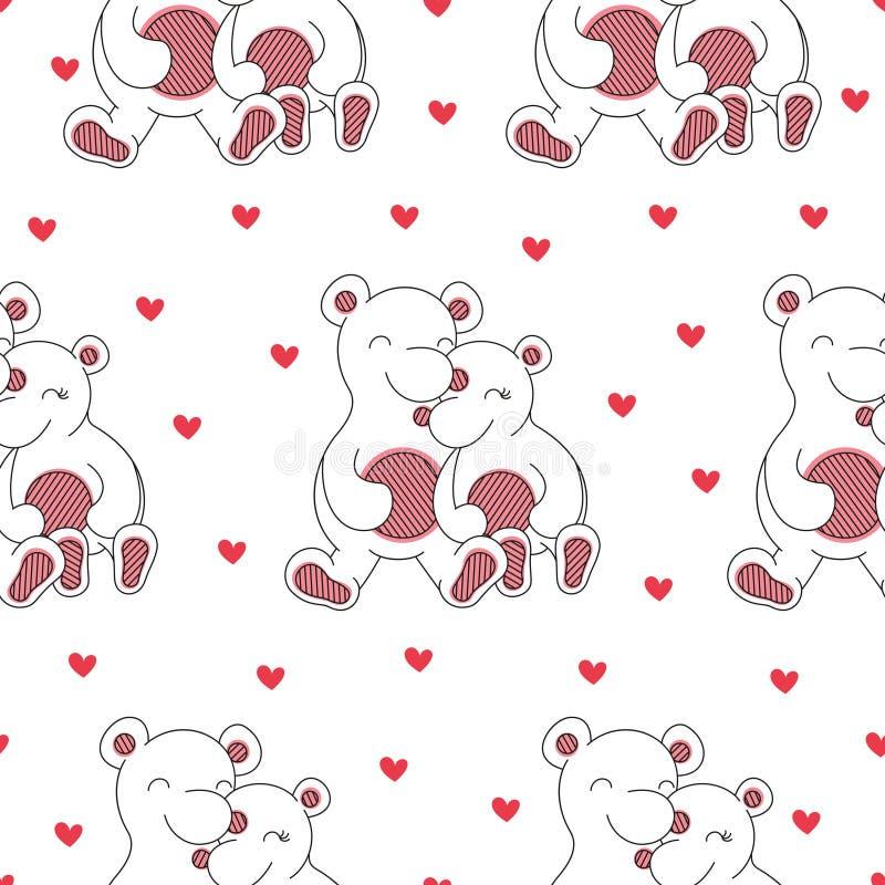 Naadloze achtergrond van beren en harten royalty-vrije illustratie