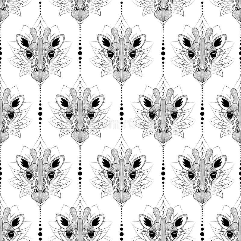 Naadloze achtergrond van de giraf de hoofd grafische illustratie royalty-vrije stock foto