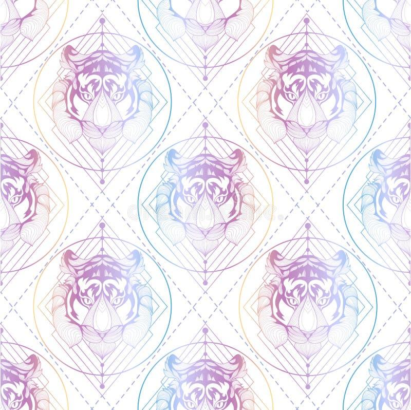 Naadloze achtergrond van de tijger de grafische illustratie royalty-vrije stock fotografie