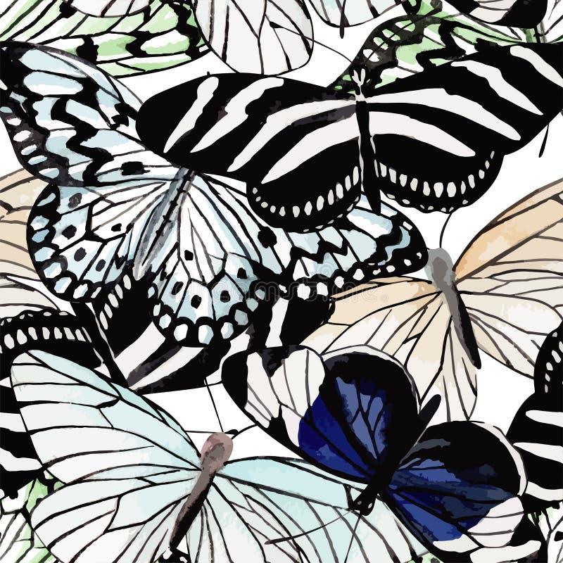 Naadloze achtergrond van de vlinders de zwart-witte waterverf royalty-vrije illustratie