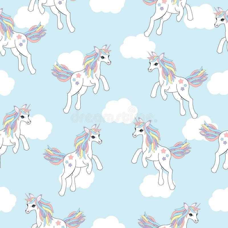 Naadloze achtergrond van dierlijke illustratie met leuke eenhoorn op witte wolkenachtergrond stock illustratie