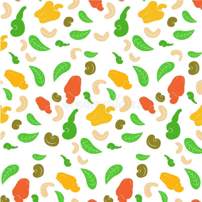 Naadloze achtergrond van een cashewnoot De geschilde helft en de bladeren van de okkernoten gehele cachou op een witte achtergron vector illustratie