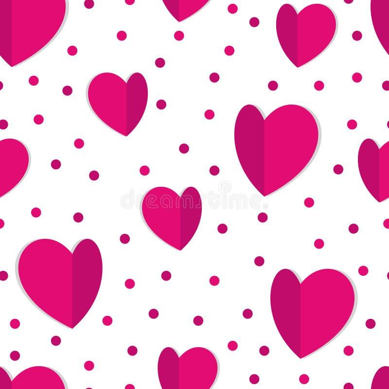 Naadloze achtergrond van harten en punten royalty-vrije illustratie