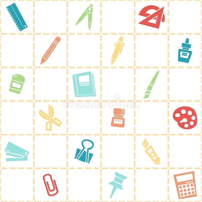 Naadloze achtergrond van kantoorbehoeftenpatroon kleurrijk schoolthema stock illustratie