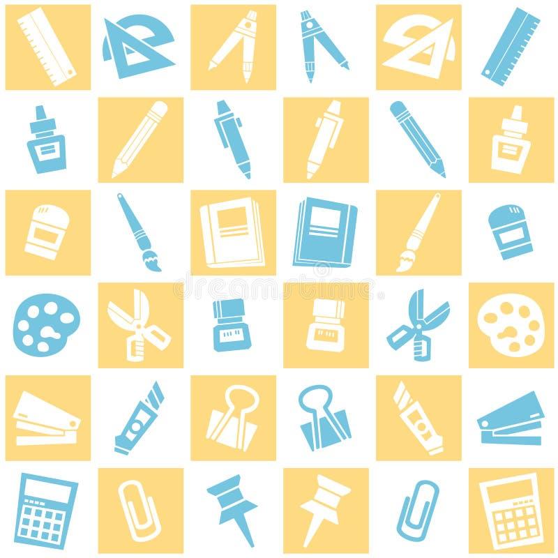 Naadloze achtergrond van kantoorbehoeftenpatroon kleurrijk schoolthema vector illustratie