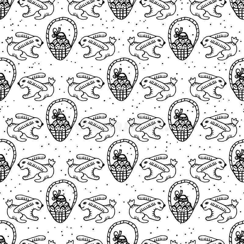 Naadloze achtergrond van mand met paaseieren en konijn stock illustratie