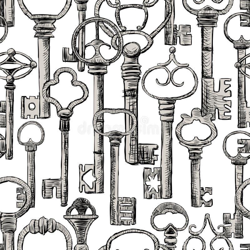 Naadloze achtergrond van oude sleutels stock illustratie