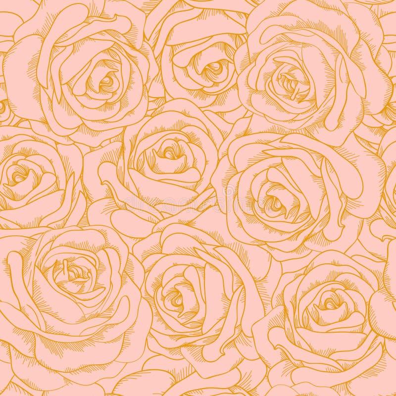 Naadloze achtergrond van roze rozen met gouden outl stock illustratie
