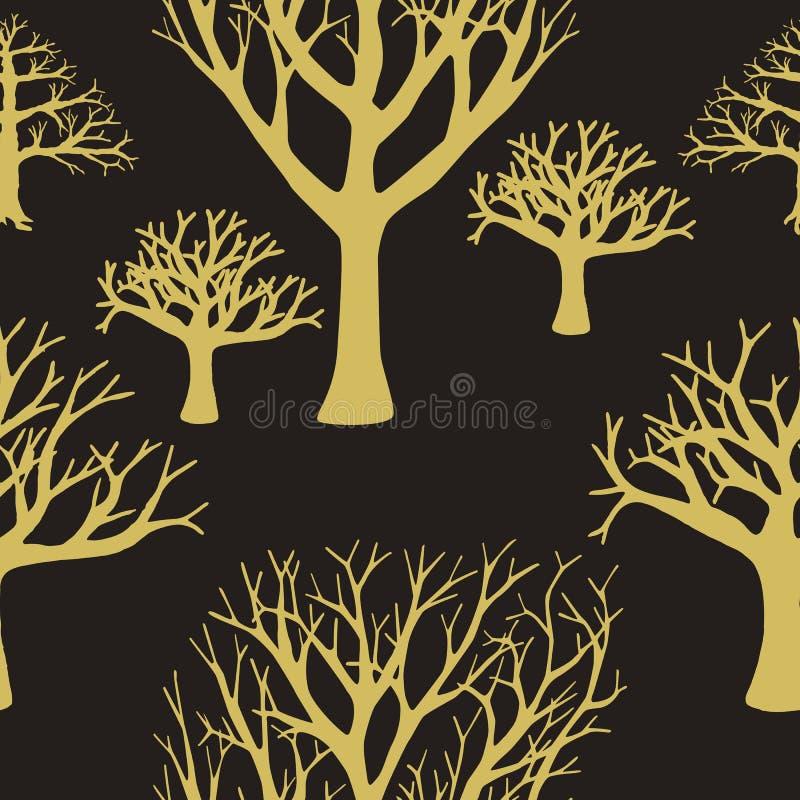 Naadloze achtergrond van silhouetten van bomen royalty-vrije illustratie