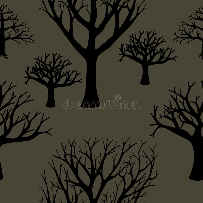 Naadloze achtergrond van silhouetten van bomen stock illustratie