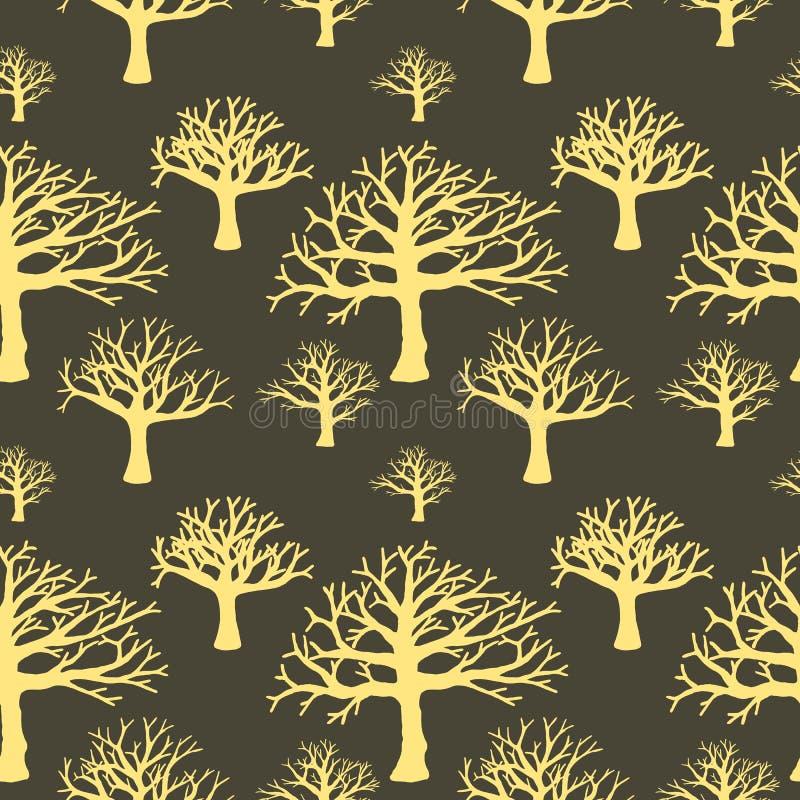 Naadloze achtergrond van silhouetten van bomen vector illustratie