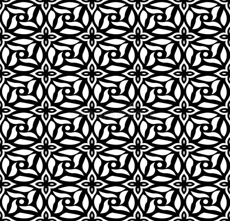 Naadloze achtergrond van uitstekend zwart wit rond dwarsbloempatroon stock illustratie