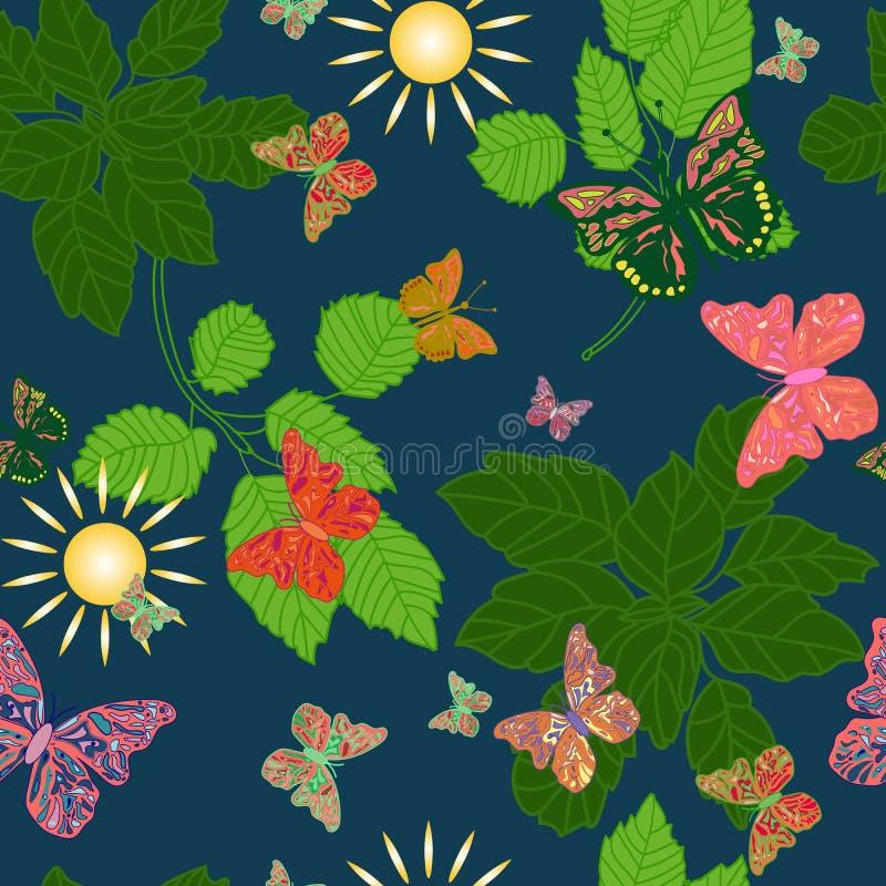 Naadloze achtergrond van vlinders in een bos stock illustratie