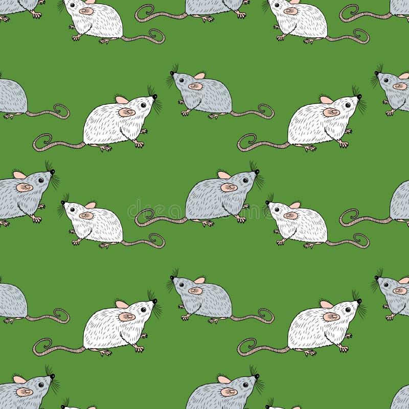 Naadloze achtergrond van witte en grijze ratten royalty-vrije illustratie